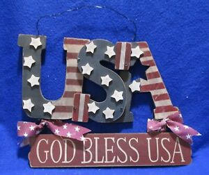 USA GOD BLESS USA handmade door sign 8.5x11