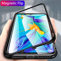 Magnetic Adsorption Tempered Glass Flip Case For Huawei P30 P20 Lite Mate 20 Pro