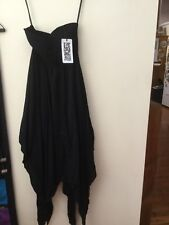 Mooloola Black Strapless Dress Size 8 With Tags. Hankerchief Hem Style Dress.