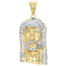 """1/10th 10K Yellow Gold Bonded Two Tone Jesus Face Piece Pendant 1.50"""" Charm"""