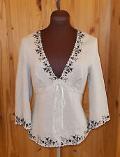 INDIAN LAKE beige oatmeal black floral 3/4 sleeve PURE LINEN tunic top 10 38