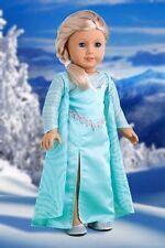 Snow Queen - 18 inch Doll Clothes, Disney Frozen Elsa Dress Cape Silver Shoe