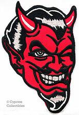 RED DEVIL BIKER IRON-ON EMBROIDERD PATCH - SATAN LUCIFER EVIL 666 APPLIQUE