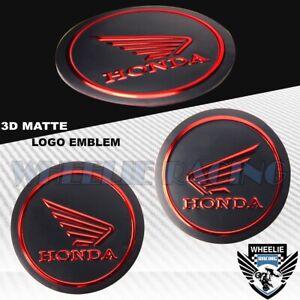 "2"" EMBLEM DECAL LOGO FAIRING/FENDER BADGE STICKER HONDA MATTE BLACK+CHROME RED"