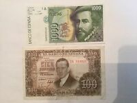 1992 1000 (high grade) & 1953 100 Pesetas Spain a Lot of 2 High Value Banknotes