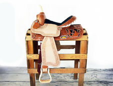 """14"""" HANDMADE  WESTERN BARREL TRAIL HORSE TACK BLING ROUGHOUT LEATHER SADDLE"""