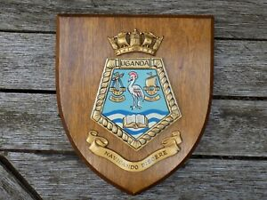 Vintage SS UGANDA 1952 BISNCo Cruise Ship Hand Painted Ships Crest Plaque Shield