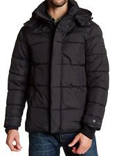 Ben Sherman MEN'S Quilted Long Sleeve Hooded Jacket BLACK Sz XL