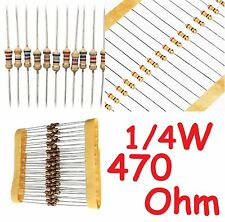 Set da 100 pezzi RESISTENZE 1/4 W 470 Ohm 5% alta qualità 100 Pz.