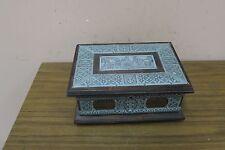 "Vintage Art Nouveau Wood Box Hand Hammered Metal Overlay Gdansk Poland 9"" x 6.5"
