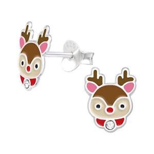 Red & Pink Reindeer Head Christmas Enamel Sterling Silver Stud Earrings 10mm