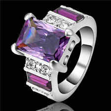 Fashion Jewelry Amethyst 10K white gold filled Men's Anniversary Rings Size 8