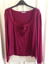 MARKS & SPENCER CERISE TOP LONG SLEEVES SATIN BOW & LACE DETAIL TO NECK UK 18
