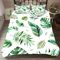 Tropical Leaves Quilt Doona Duvet Cover Set Palm Leaf Double Queen King Size Bed