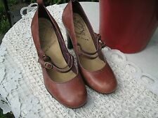 RIVER ISLAND DISTRESSED LEATHER MARY JANE SHOES SIZE 5