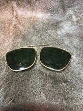 Vintage Polaroid XL Clip On Sunglasses. Aviator Style. W/original Leather Case!