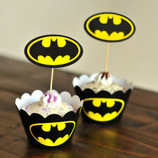 Batman Party Paper Cupcake Wrappers Toppers For Kids Party Birthday Decoration