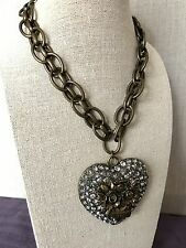 NWT 100% Betsey Johnson RARE Crystal Tattoo Rose Big Heart XOX Forever Necklace