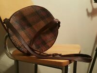 INDOLINK Woven Basketweave Crossbody Brown Leather Red & Natural Plaid Wicker