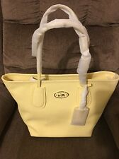 New COACH 33915 Taxi Tote Zip Top in Cross Grain Leather NWT $295/Pale Yellow