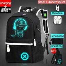 School Backpack Anime Luminous Bag Shoulder USB Travel Student Fashion Charge