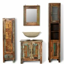 Reclaimed Solid Wood Bathroom Vanity Cabinet Set 4 pcs Suites Storage Mirror