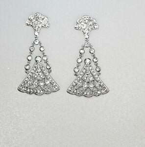 925 Sterling Silver Chandelier Earrings Gorgeous Fan Shape High End CZ Rhodium