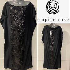 "EMPIRE ROSE Australia New $455 Black ""Nightgarden"" Silk & Sequin Panel Dress M-L"