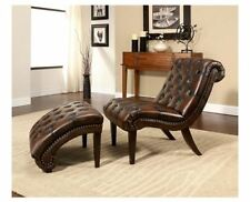 Chaise Lounge Indoor Chair and Ottoman Set Leather Bedroom Living Room Furniture