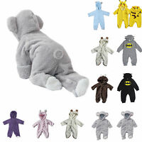 Newborn Baby Cartoon Romper Toddler Hooded Jumpsuit Bodysuit Warm Fluffy Outfits