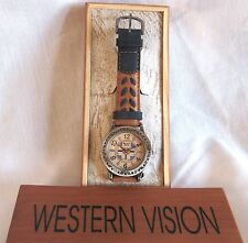 SOUTHWEST /WESTERN WATCH-DENIM COLOR & BROWN 2-TONE LEATHER BAND - PEWTER RIM
