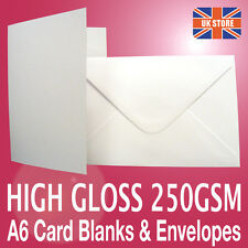 50 x A6 C6 White Gloss Card Photo Blanks 250gsm & Plain White 100gsm Envelopes