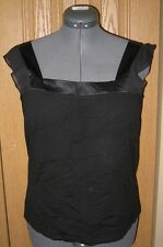 TALBOTS NEW Black Sleeveless Wool Silk Womens Shirt Top Shell NWT Size L Large
