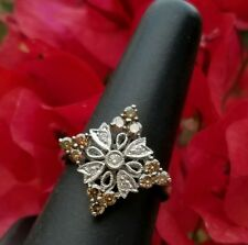 💍Unique Champagne Diamond Ring 14K White Gold Size 6 Stunning WOW Jared Vintage