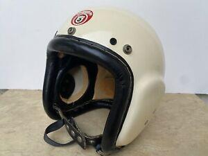 Rare Vintage McHal Speedway Akusta-Bloc Motorcycle Racing Indy Open Face Helmet