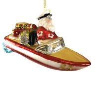 Santa Speed Boat Ornament Glass Ornament Glitter 24 Hawaiian Shirt Kurt Adler