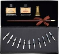 Calligraphy Art Set Kit 11 Nibs Italic Chisel Wooden Dip Pen 2 Ink Bottles DIY