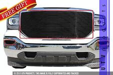 GTG 2016 2017 GMC Sierra 1500 3PC Gloss Black Insert Billet Grille Grill Kit