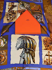 Authentic Hermes Multicolor Scarf Silk Multi Loic Dubigeon Persona Print Egypt