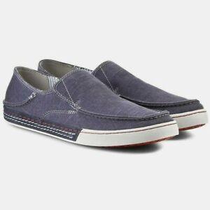 $75 mens~CLARKS~Denim Blue BOAT SHOES Slip-On CANVAS Loafer CASUAL Sneaker 9.5 M