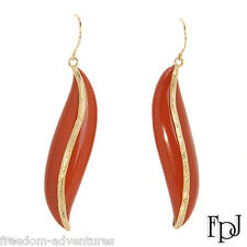 Luscious 41.50ctw Genuine Red Brick Jasper Gemstones Earrings 14K Solid Gold