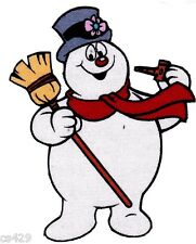 "3.5"" FROSTY THE SNOWMAN CORN PIPE CHRISTMAS  HOLIDAY FABRIC APPLIQUE IRON ON"