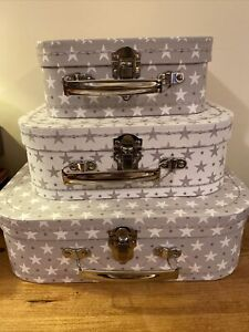 Beautiful Grey & White Star Storage Suitcases / Gift Boxes SET OF 3