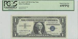 1957B $1 Star Note Silver Certificate FR#1621 PCGS 69 Superb Gem New PPQ