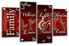 Large Family Quote Canvas Picture Red Cream Black 4 Panel Split Wall Art Multi