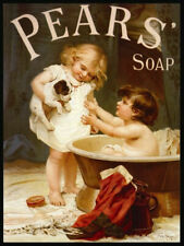 Vintage Style Bathroom Metal Sign Plaque Pears Puppy Soap Advert Wall Picture