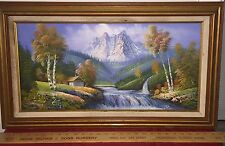 Oil on Canvas Signed Painting Landscape Mountains Waterfalls