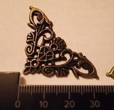 16 x Antique filigree corner 34x34mm Jewelery wooden box embellishment aged C018