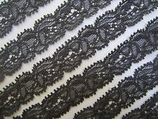 4   Meter Spitze grau Schwarz1,5 cm breit Borte 531 Elatisch