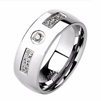 Five Clear Round CZs Center 316L Stainless Steel Men/'s Band Ring SZ 7-12
